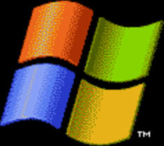 The Windows logo from the Windows XP loading screen. Offset several pixels to the right to sit above the text in a design similar to the Windows XP loading screen.